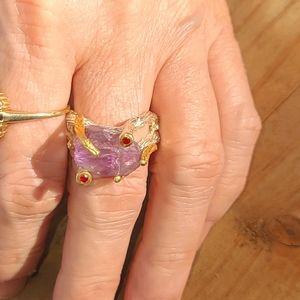 Raw amethyst sterling silver & ruby vine ring sz8